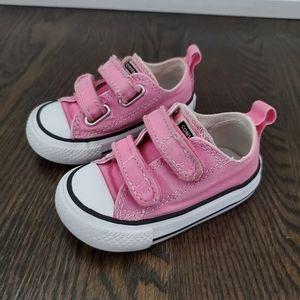Converse Pink Velcro Closure Sneaker Infant Size 4
